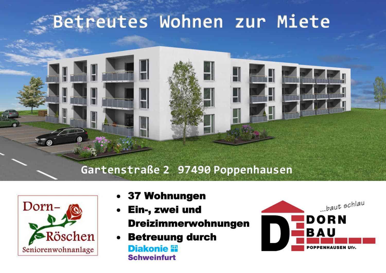 Banner über die Seniorenwohnanlage Dornröschen in Poppenhausen