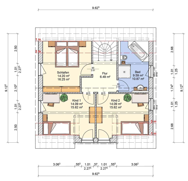 Grundriss Dachgeschoss Haus Schneezauber Dorn Bau