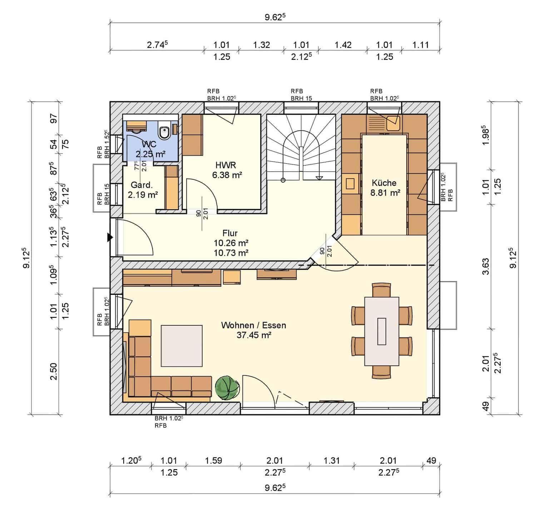 Grundriss Erdgeschoss Haus Schneezauber Dorn Bau