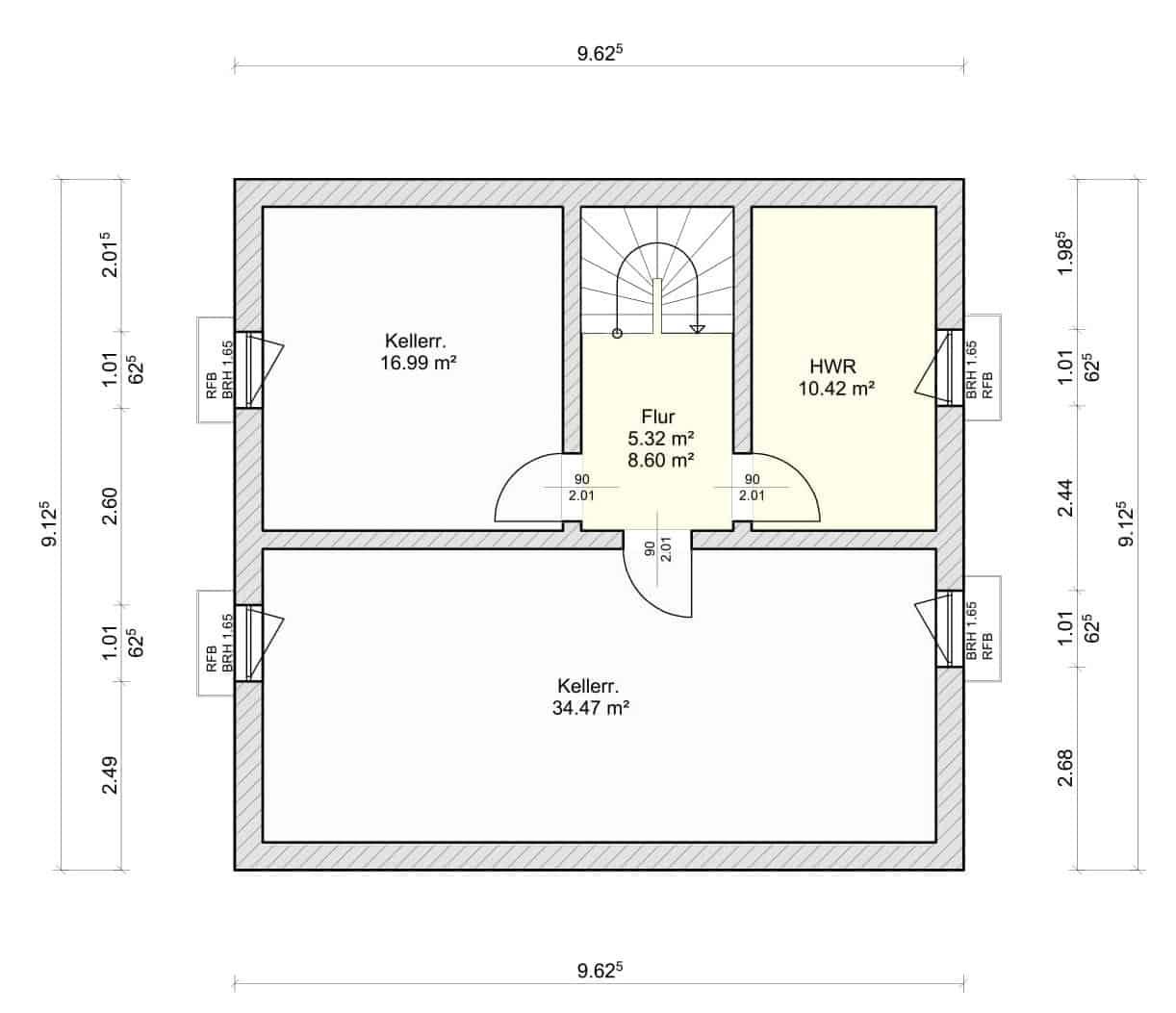 Grundriss Kellergeschoss Haus Schneezauber Dorn Bau