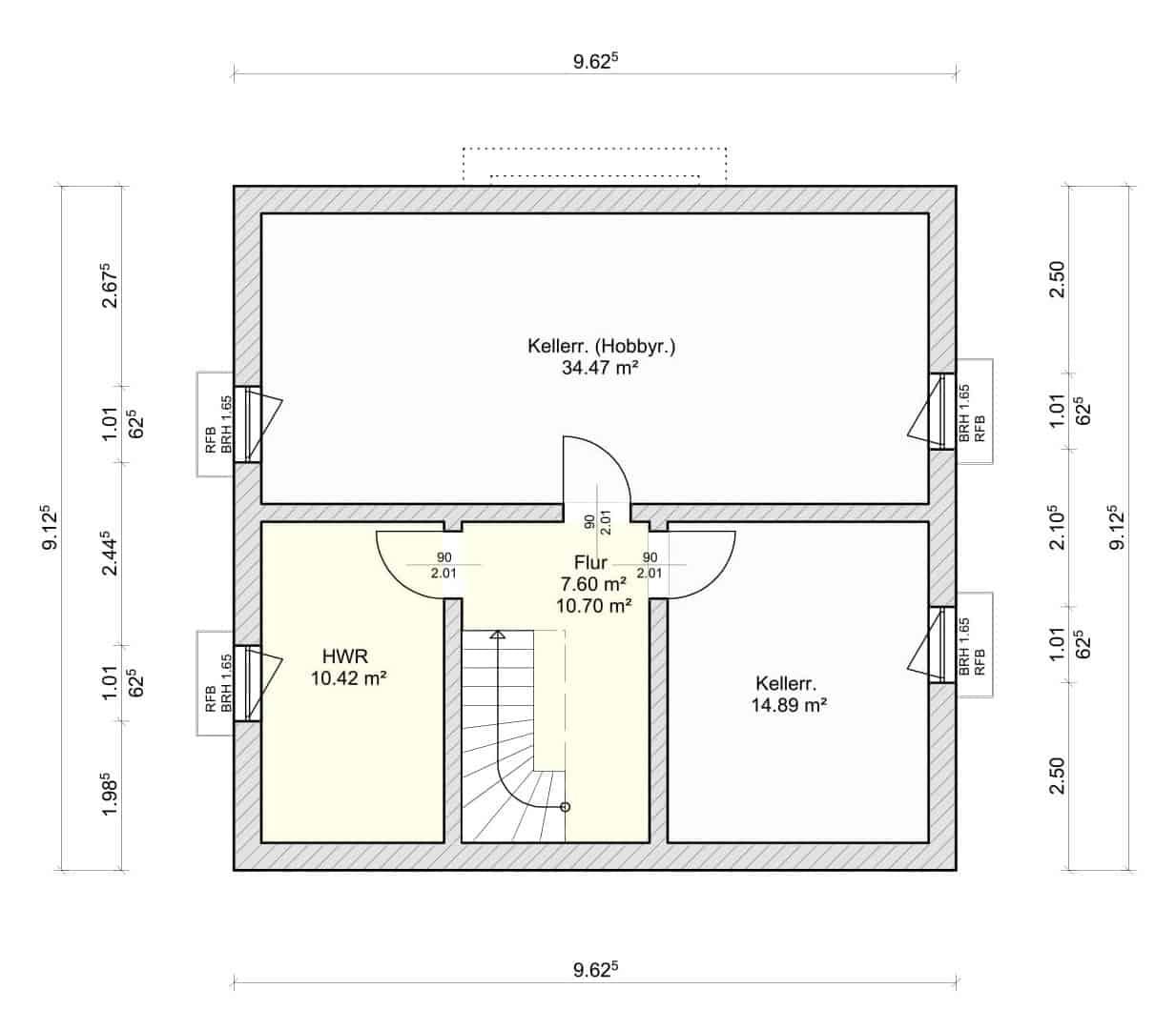 Kellergeschoss Grundriss vom Musterhaus Sonnenschein